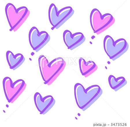 手書きのハート群紫のイラスト素材 3473526 Pixta