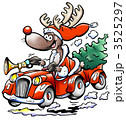 Reindeer drives his red car with a Christmas tree 3525297