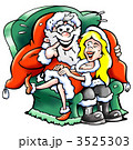 Santa Claus sits in an armchair with a Christmas girl on his lap 3525303
