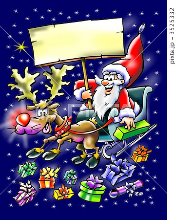 Santa Claus in his sleigh with a big sign 3525332