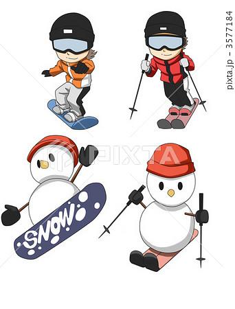 スノーボード スキー 冬のイラスト素材 3577184 Pixta