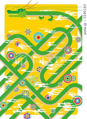 辰年年賀状・印刷用3mm塗り足し付イラスト・文字無し・背景/黄色 3590183