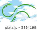 大空を飛ぶ龍/青空背景 3594199