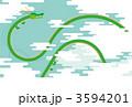 大空を飛ぶ龍/ブルーグリーン背景 3594201