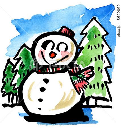 雪だるま(絵手紙風)