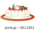 イラスト デコレーションケーキ クリスマスケーキのイラスト 3611901
