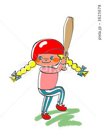 ソフトボール 野球 子供のイラスト素材 3625678 Pixta
