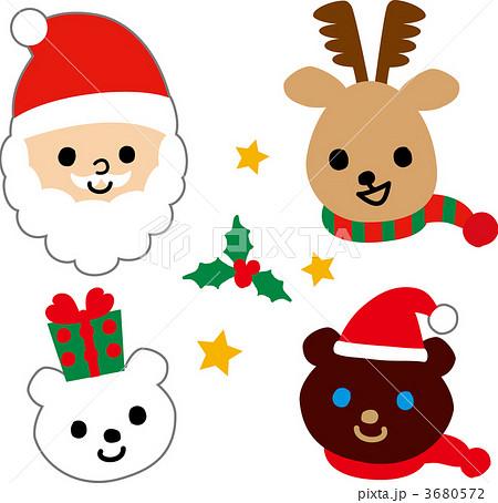 クリスマスイラスト サンタトナカイくまのイラスト素材 3680572