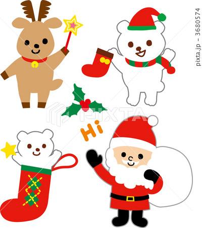 クリスマスイラスト サンタトナカイくまのイラスト素材 3680574