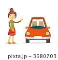 乗用車 女性 自動車のイラスト 3680703