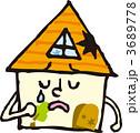 一軒家 ベクター 老朽化のイラスト 3689778