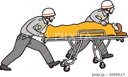 患者を運ぶ救急隊員のイラスト素...