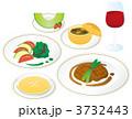 フランス料理 ステーキ フルコースのイラスト 3732443