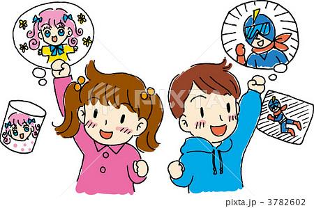 子供と子供の好きなキャラクターイラストのイラスト素材 3782602 Pixta