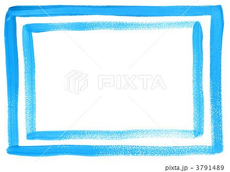 手描きの枠(水彩・青) 3791489
