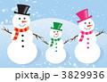 雪景色 家族 雪だるまのイラスト 3829936