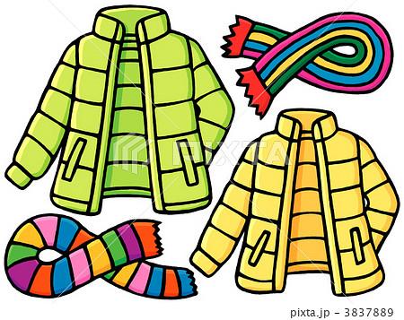 ダウンジャケット マフラーのイラスト素材 3837889 Pixta