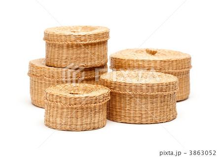 Stack of Wicker Baskets on Whiteの写真素材 [3863052] - PIXTA