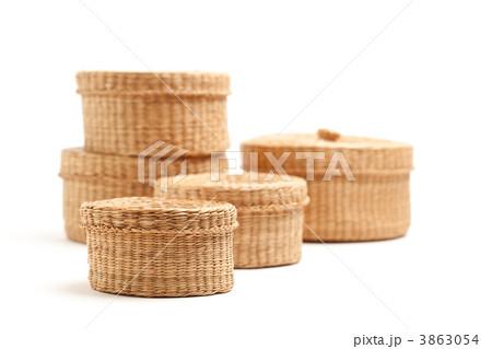Stack of Wicker Baskets on Whiteの写真素材 [3863054] - PIXTA