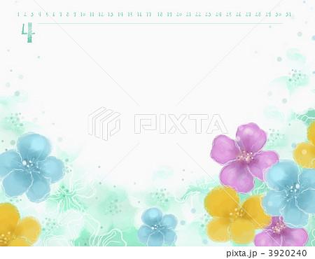 カレンダー 4月 花のイラスト素材 3920240 Pixta
