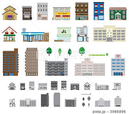 建物いろいろのイラスト素材 3986896 Pixta