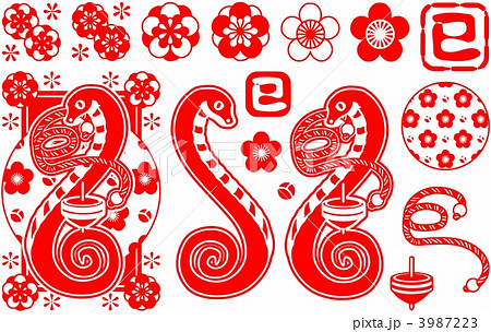 2013年巳年年賀状用イラスト素材(蛇と独楽と紅白紐・赤一色) 3987223