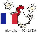 ニワトリとフランス国旗とユリ 4041639