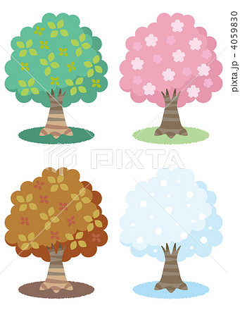 イラスト素材: 春夏秋冬の木の ...