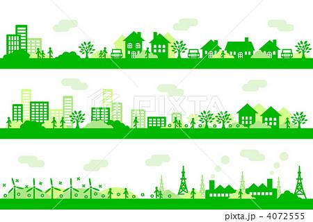 町並み 住宅 緑のイラスト素材 4072555 Pixta