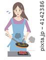 主婦 こがす 料理のイラスト 4142386