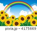 花畑 ひまわり畑 向日葵畑のイラスト 4175669