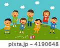夏休み 小学生 体操のイラスト 4190648