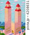 ツインタワー 騙し絵 塔のイラスト 4208631