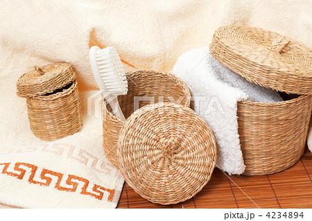 woven baskets with bath accessoriesの写真素材 [4234894] - PIXTA
