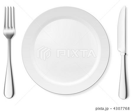 dinner plate knife and forkのイラスト素材 4307768 pixta