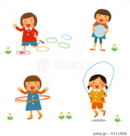 子供の外遊び女の子のイラスト素材 4311908 Pixta