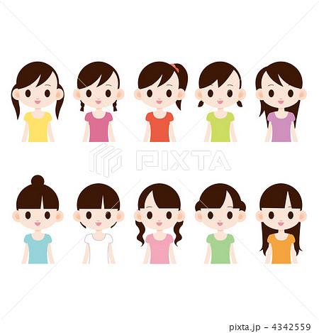 中高生の女の子 10人のイラスト素材 4342559 Pixta