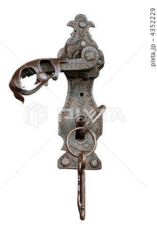 Vintage metal handle and key isolated on white backgroundの写真素材 [4352229] - PIXTA