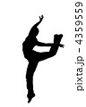 black silhouette of a dancer on a white background 4359559