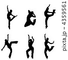 silhouettes of street dancers on a white background 4359561