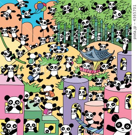 竹林とパンダ 4365701