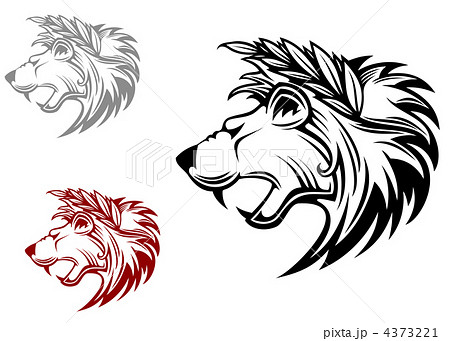 Angry heraldic lion with laurel wreath 4373221