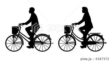 イラスト素材: 自転車に乗って ...