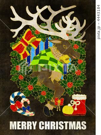 クリスマスカード用イラスト(トナカイとクリスマスリース) 4443184