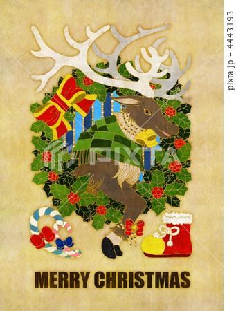 クリスマスカード用イラスト(トナカイとクリスマスリース) 4443193
