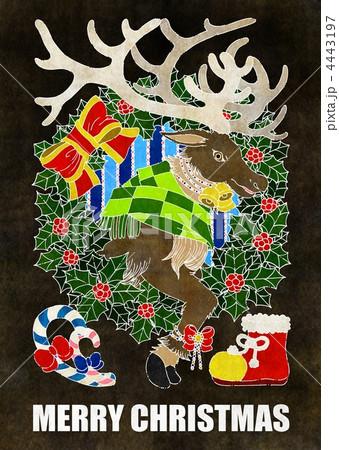 クリスマスカード用イラスト(トナカイとクリスマスリース) 4443197