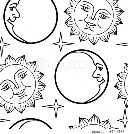 seamless wallpaper the moon and sun with facesのイラスト素材