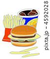 ファストフード フライドポテト ハンバーガーのイラスト 4592028