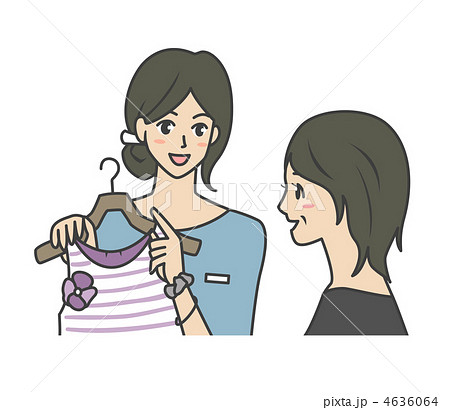 販売員と女性客ミドルの女性のイラスト素材 4636064 Pixta