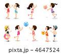 水着の男の子と女の子、ボール遊び 4647524